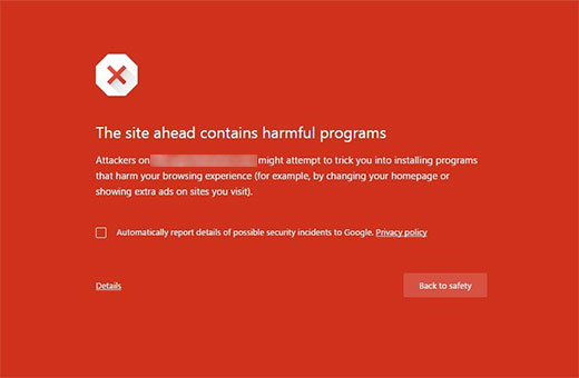 خطای This site ahead contains harmful programs